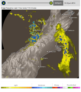Radar from today at 9:05 pm local time (Hokitika, New Zealand). See the rain shadow?! All of the rain's coming from the windward side of the mountains over to the leeward side. Light Westerly winds, 10 mph at max.